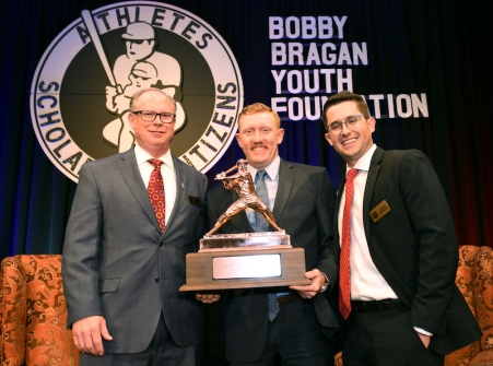 Mike Goodrich, left, Bobby Bragan Collegiate Slugger Award winner Hunter Hargrove and Andrew Robinson. (photo by Bob Haynes)