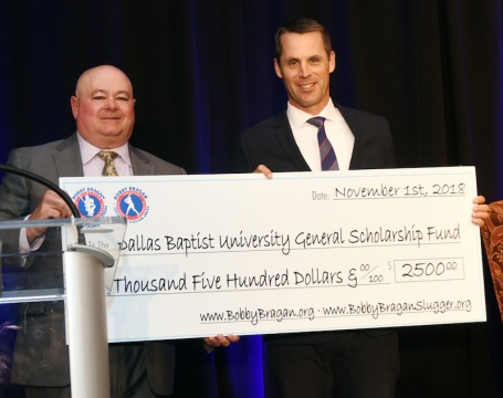 Tracy Taylor (left) and Dallas Baptist baseball coach Dan Heefner
