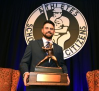 The 2018 Bobby Bragan Collegiate Slugger Award Winner Devlin Granberg of Dallas Baptist University holds the trophy at the Fort Worth Club in Fort Worth, Texas, Thursday, November 1, 2018. Photo by Bob Haynes