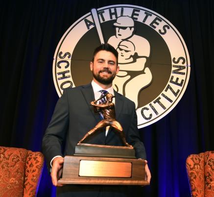The 2018 Bobby Bragan Collegiate Slugger Award Winner Devlin Granberg of Dallas Baptist University holds the trophy at the Fort Worth Club in Fort Worth, Texas, Thursday, November 1, 2018. Photo by Bob Haynes