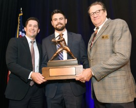 Andrew Robinson, left and Dick Stinson present the 2018 Bobby Bragan Collegiate Slugger Award to Devlin Granberg of Dallas Baptist University at the Fort Worth Club in Fort Worth, Texas, Thursday, November 1, 2018. Photo by Bob Haynes