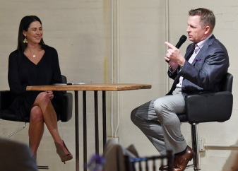 Emcee, Emily Jones speaks with TCU Baseball Coach Jim Schlossnagle during a Q & A session at the Bobby Bragan Collegiate Slugger Award Watch List Announcement, Monday February 11, 2019 in Fort Worth, Texas