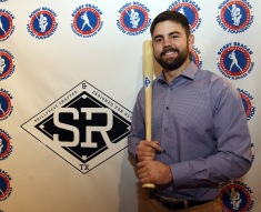 Devlin Granberg, the 2018 Bobby Bragan Collegiate Slugger Award winner holds a bat as he attends Bobby Bragan Youth Foundation, Collegiate Slugger Award Watch List Announcement in Fort Worth, Texas Monday February 11, 2019.