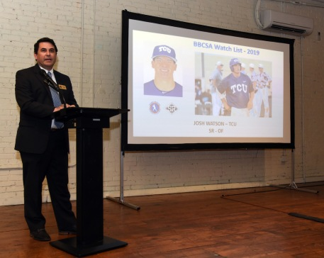 Michael Peck, chairman, selection committee speaks as TCU player Josh Watson is on the screen during the Bobby Bragan Collegiate Slugger Award Watch List Announcement Monday night, February 11, 2019 in Fort Worth, Texas.